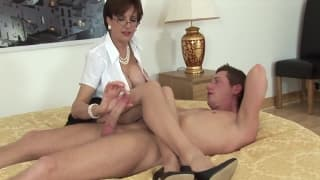 A sexy milf with big tits loves fucking him