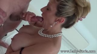 Blonde gets banged like a real whore today