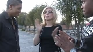 Blonde milf has two black guys for herself