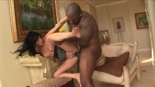 A milf whore gets a big black dick in her