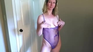 A mature blonde woman loves sex at home
