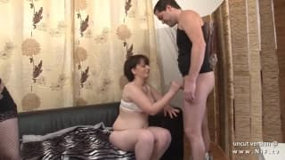 Porno casting with a horny and chubby milf