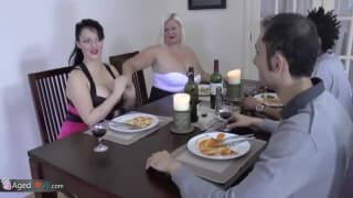 A dinner party turns in to a group fuck!
