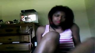 Here's a young black babe showing off on cam