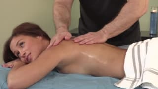 Hot brunett gets fucked by a horny masseur