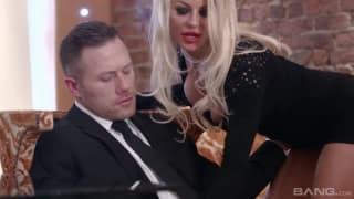 Blonde milf wears her lingerie to fuck him