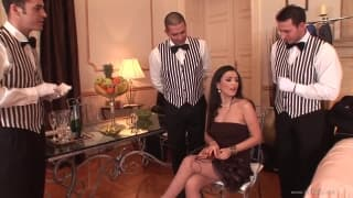 Brunette milf enjoys a surprise gangbang
