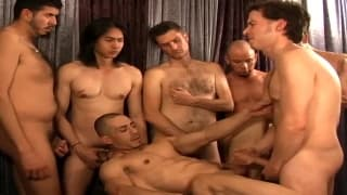 A group of gay friends all fucking together