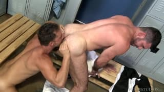 Armando and Billy fuck in the locker room