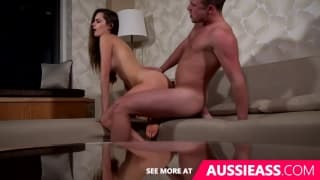 Cute aussie girl does splits while fucked