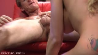 Blonde Milf with big tits is fucked in a bar