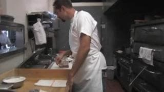 Funny pizza guy gets blown through a pie