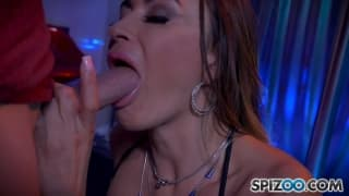 Big titty brunette fucks on a stripper stage