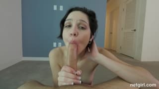Sexy brunette student shows actress talents