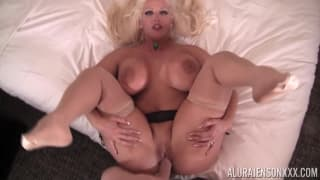 Hit blonde with big tits enjoying it hard