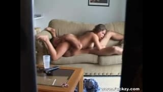 This couple enjoy a 69 on the couch
