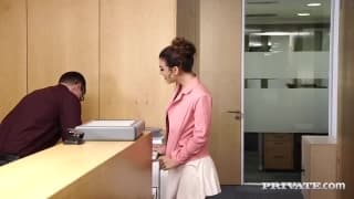 Female boss gets fucked by two employees