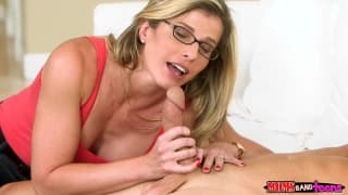 MILF house sitter joins a threesome