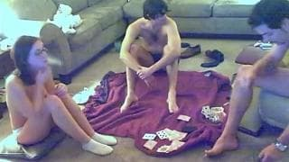 A couple play a sexual card game with a guy