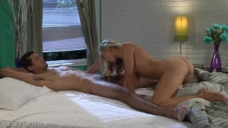 Hot blonde Charlee Monroe sucks off a dude