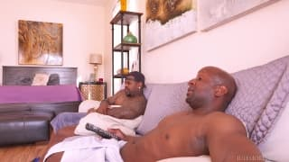 Kate England gets fucked by two black men.