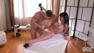 Mature with massive fake tits gets fucked
