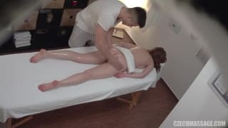 Czech Massage Hot brunette oiled and fucked