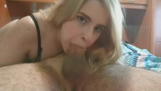 Hot blonde giving epic blowjob on camera