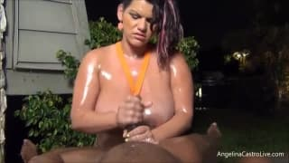 Hot fat big slut jerking off using oil