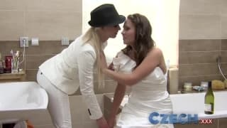Hot sexy lesbians fingering each other