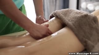 Oily and sensual massage for curly haired teen
