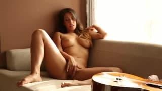 Eva Lovia Plays some guitar before masturbation