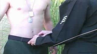Justin Lake and Kyle McDermot outside