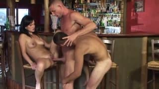 A bisexual threesome taking place in the bar
