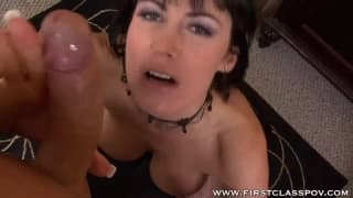 POV MILF gives a tit wank and blowjob
