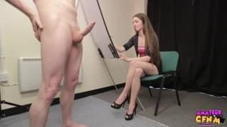 Cute innocent teen doing her first blowjob