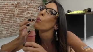 Hairy pussy slut sucking that big cock