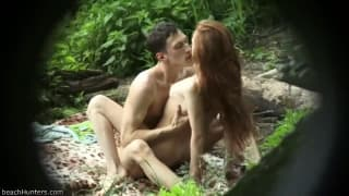 Outdoor spying on that slut fucking in forest