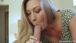 Blonde MILF gives a hot blowjob in POV