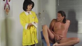 Nurse sticking a dildo inside that sick man
