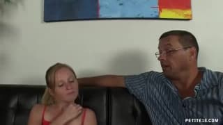 Tiny step-daughter gives daddy satisfaction