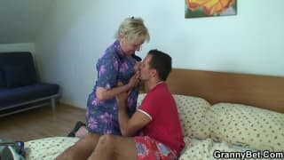 Mature Granny sucks off young stud and fucks