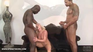 Blonde grandmother has interracial sex