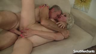 Mature blonde grandma getting banged