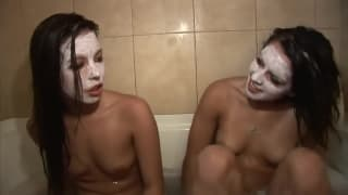 Hot amateur teens filmed in the bathtub