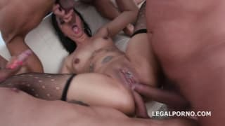 Jureka takes 5 guys in double anal fuck