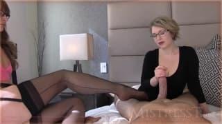 Mistress T masturbates a guy POV style