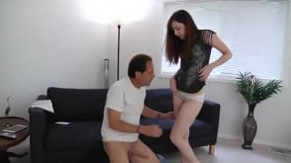 Hairy daughter Ember Stone fucks her daddy