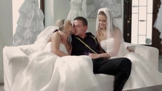 Two hot girls fuck the wedding dresses guy