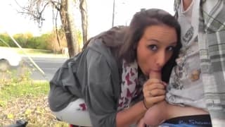 This brunette has a great time sucking him of